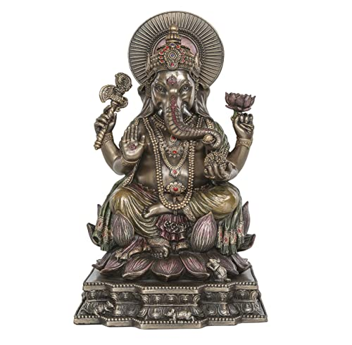 Ganesh Statue – Altar Supply Kit – 8 inch H Cold Cast Bronze Statue Ganpati Lord of Success 100 Gram Satya Sai Baba Nag Champa Incense Sticks Pack and Lotus Sri Yantra Ornament