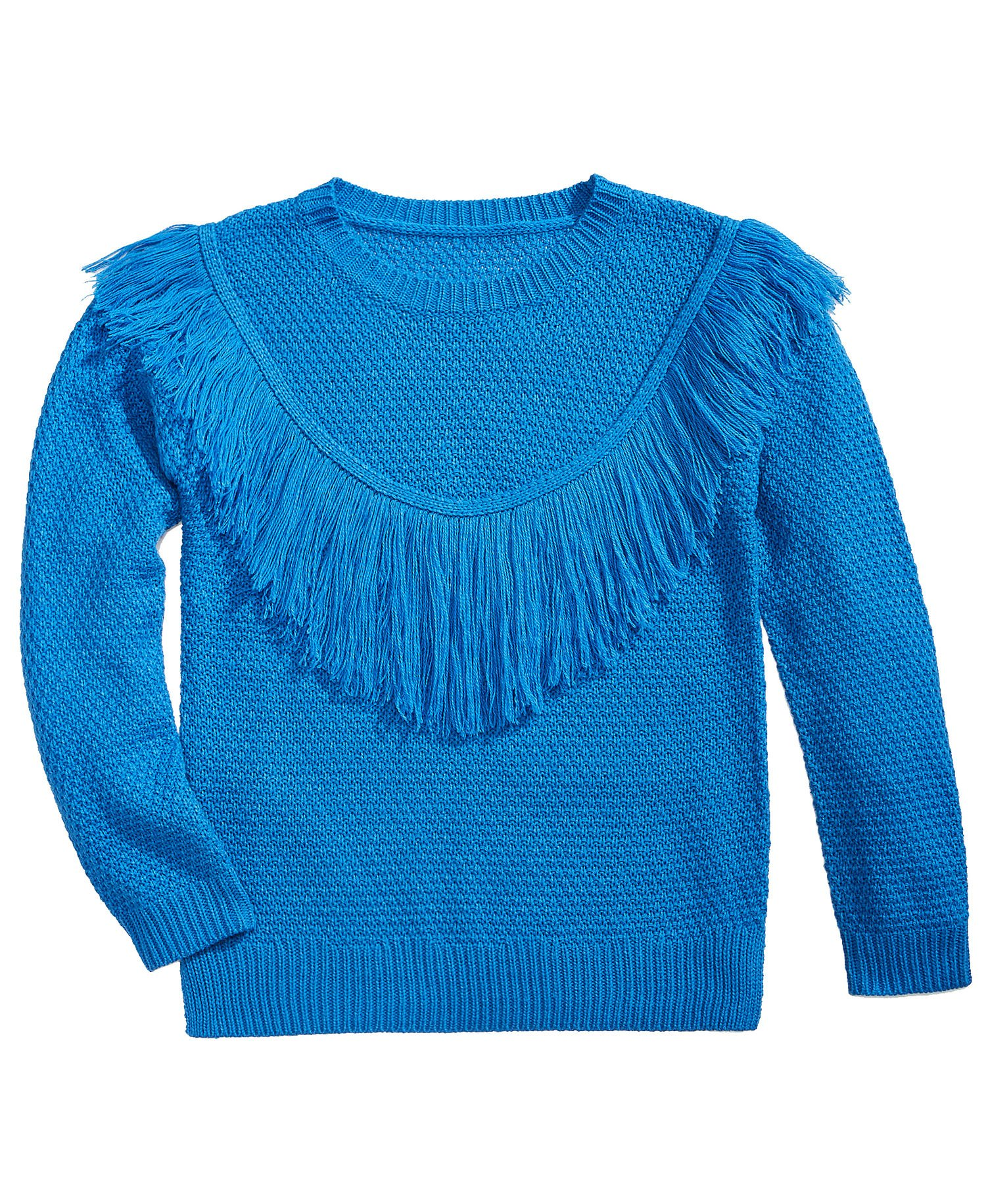 Pink Republic Big Girls (7-16) Fringe-Front Sweater Pom Pom Blue Large by Pink Republic (Image #1)