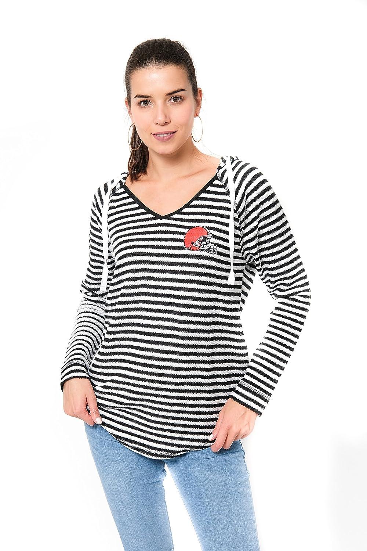 8a9563be Ultra Game NFL Cleveland Browns Women's V-Neck Hoodie Pullover Stripe  Sweatshirt, Team Color, Black, X-Large
