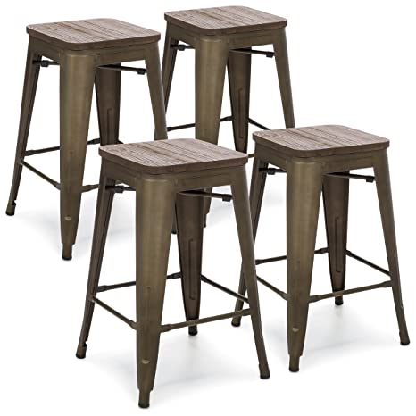 Tremendous Best Choice Products 24In Set Of 4 Stackable Industrial Distressed Metal Counter Height Bar Stools W Wood Seat Copper Machost Co Dining Chair Design Ideas Machostcouk