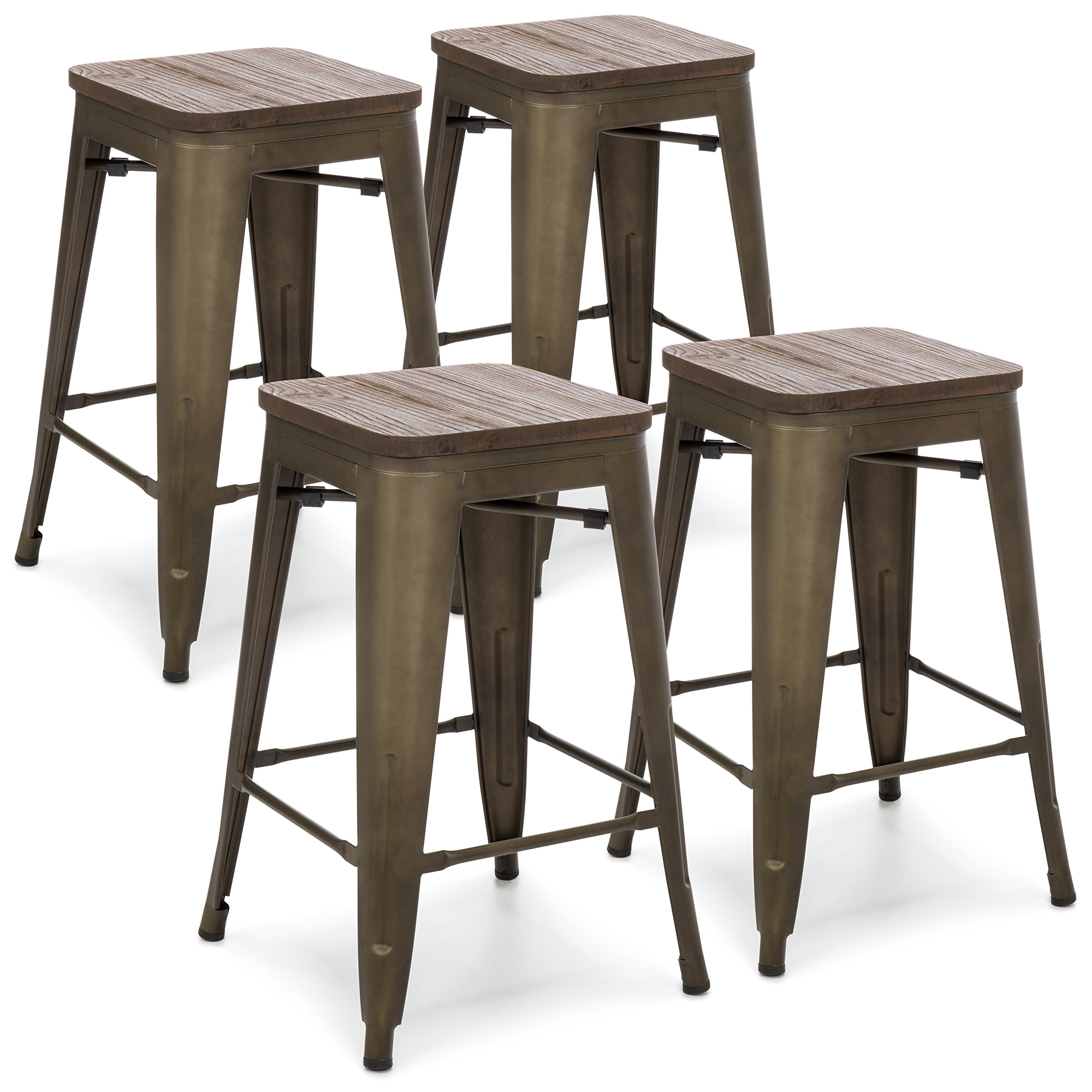 Best Choice Products 24in Set of 4 Stackable Industrial Distressed Metal Counter Height Bar Stools w/Wood Seat - Copper by Best Choice Products (Image #6)