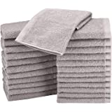 AmazonBasics Fast Drying, Extra Absorbent, Terry Cotton Washcloths, Gray - Pack of 24