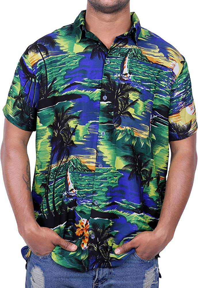 Virgin Crafts Pulsante uomo Giù Hawaiana Manica Corta Piccola Palma Bambini Stampa Summer Vacation, Bluem, XS | Busto: 36