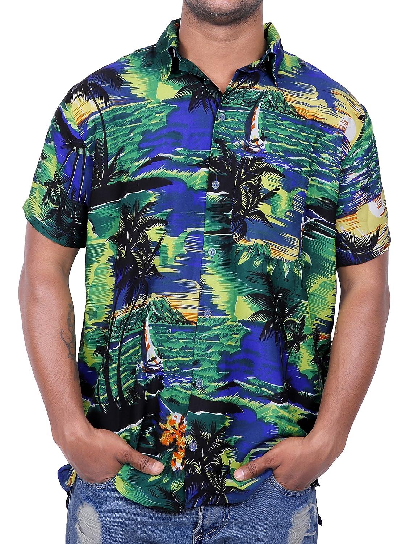 Virgin Crafts Camicia a Maniche Corte da Uomo con Stampa palmare a Maniche Corte Hawaiian Manica Corta da Uomo