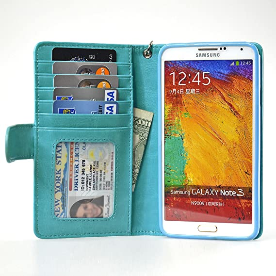 finest selection 4802a a4fda Navor Protective Flip Wallet Case for Samsung Galaxy Note 3 - Light Blue  (N3OLB)