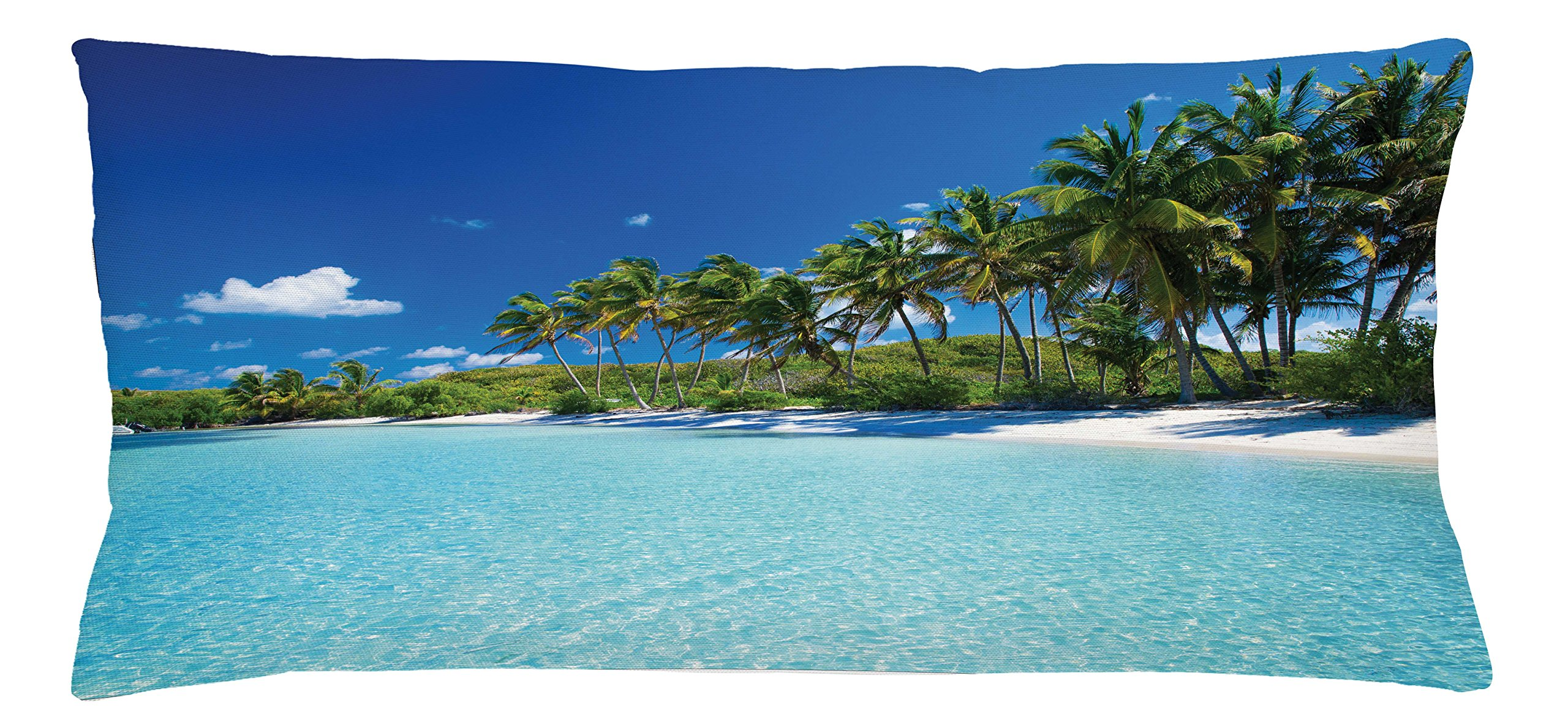 Ambesonne Ocean Throw Pillow Cushion Cover, Relaxing Beach Resort Spa Palm Trees and Sea Exotic Caribbean Coastline, Decorative Square Accent Pillow Case, 36 X 16 inches, Turquoise Blue Green