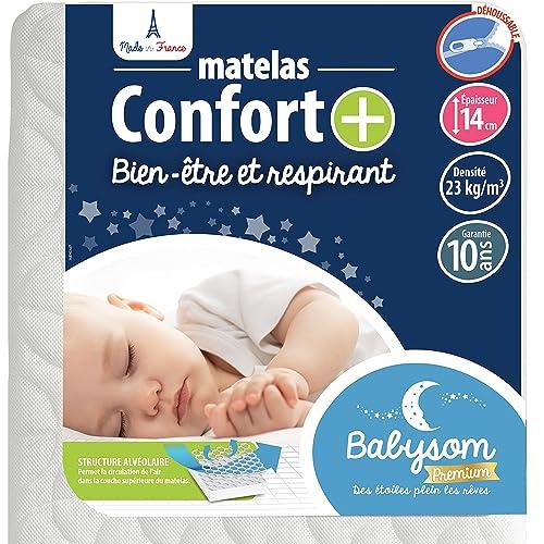 Babysom - Matelas Bébé Confort+ - 60x120cm - Ultra Ventilé - Déhoussable - Epaisseur 14cm - Garantie 10 ans