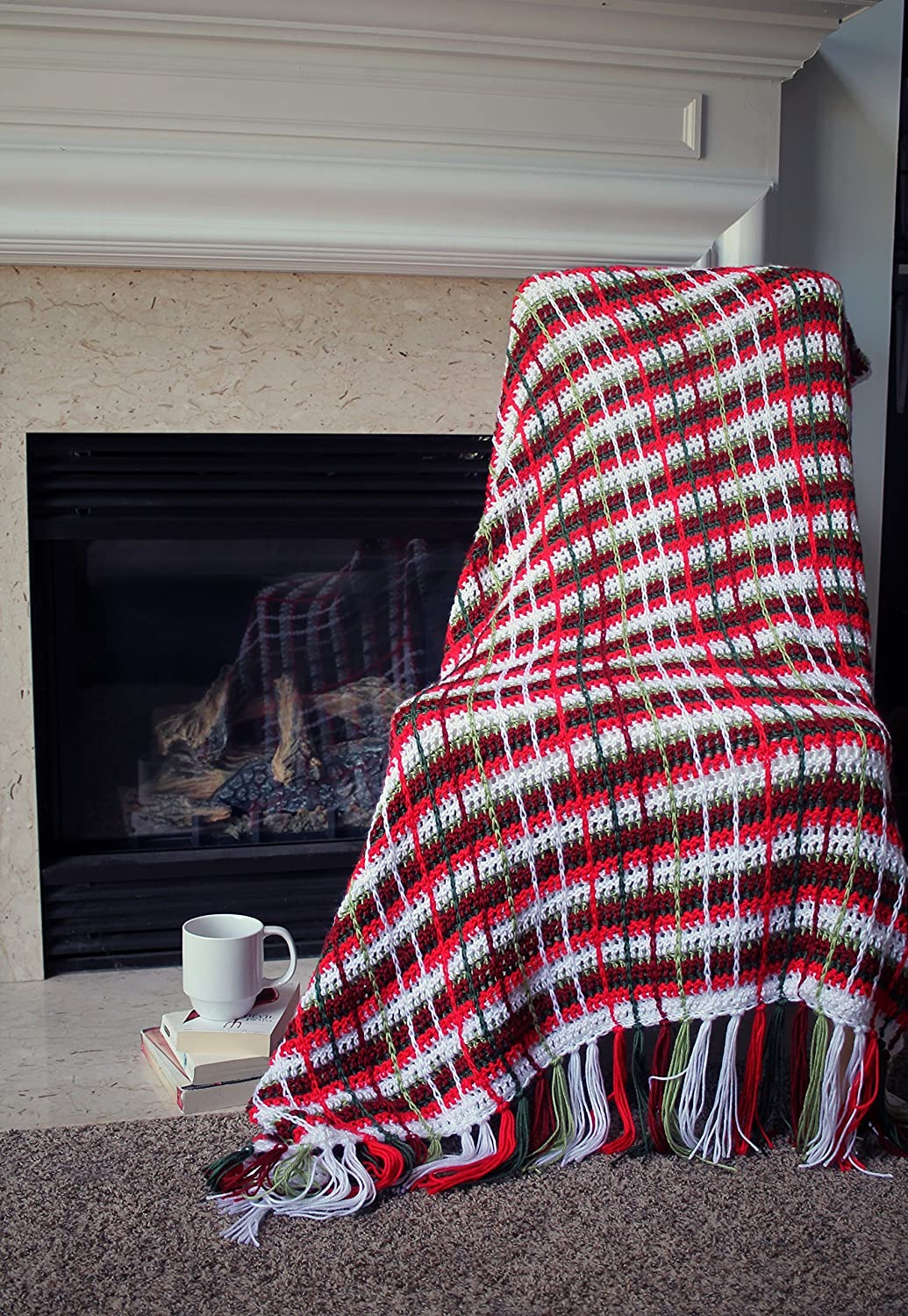 Amazon Plaid Afghan Throw Blanket Crochet Red Green And White