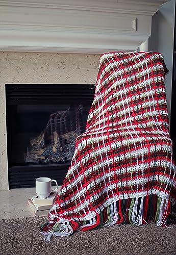 Crochet Plaid Throw Blankent