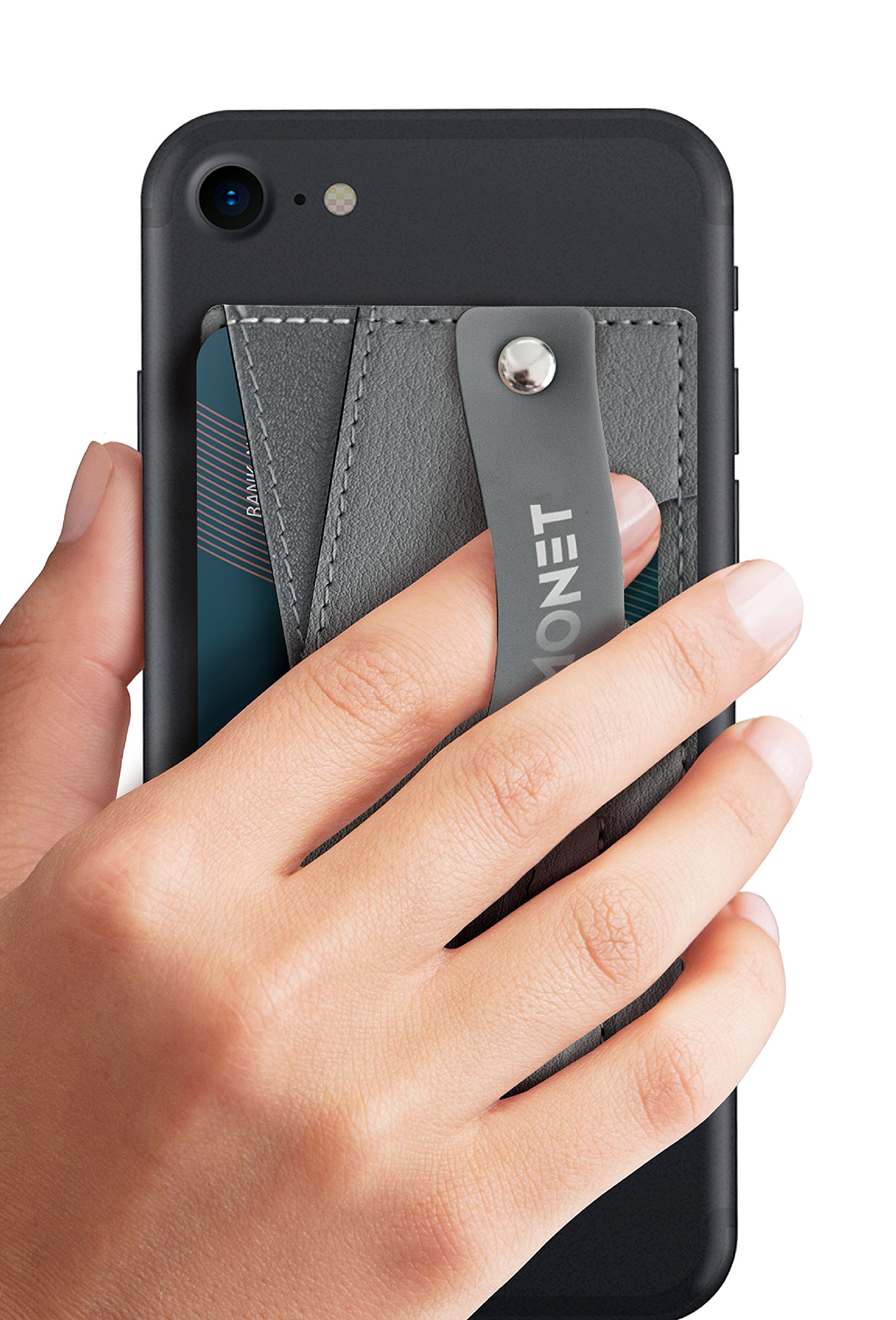 Monet Phone Grip with Expanding Stand and Slim Wallet (Steel Gray) by MONET