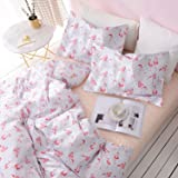 Flamingo Duvet Cover Set, 100% Cotton Bedding, Pink Flamingo Birds with Gray Ticking Striped Pattern on White, with Zipper Closure (3pcs, Queen Size)