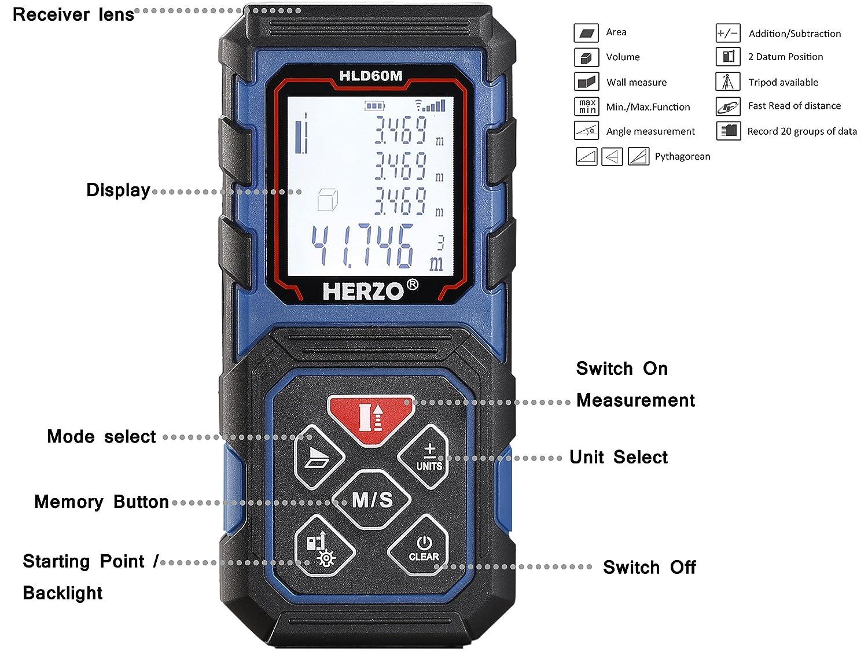 ALLROS Tel/émetro l/áser 40m IP54 Funci/ón Distancia, /Área, Volumen, Continua, Pit/ágoras Pantalla LCD 2 Medidor L/áser de Distancia Precisi/ón /±2mm Modo Silencioso Nivel de Burbuja /…