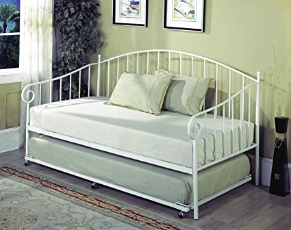 Amazon.com: Twin Size White Metal Day Bed Frame with Pop up High