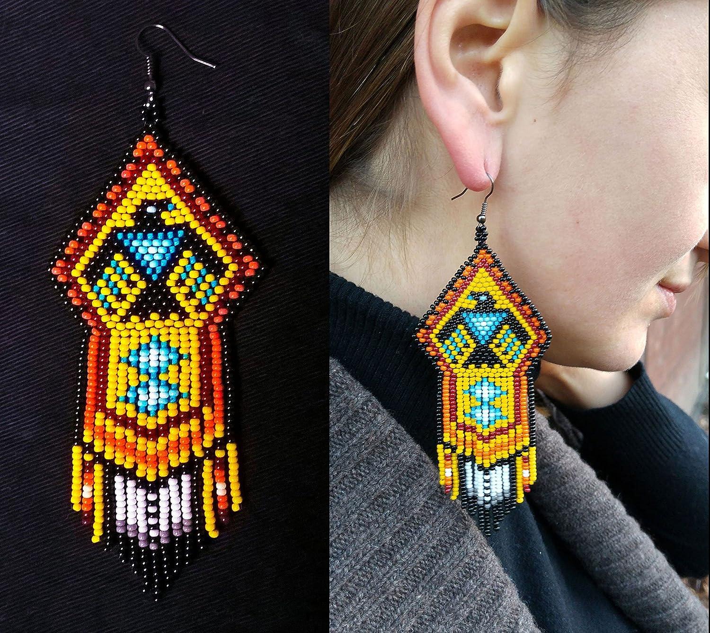 Amazon Com Eagle Beaded Earrings Native America Bead Eagle Earring Native American Big Earring Native American Thunderbird Jewelry Long Earrings Handmade