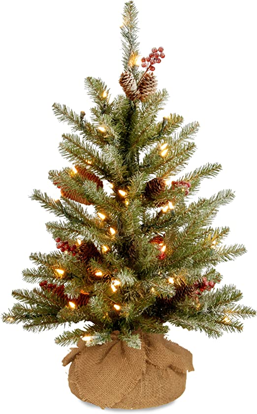 Amazon Com National Tree 3 Foot Dunhill Fir Small Tree With Red