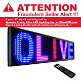 """Olive LED Signs 3 Color (RBP) 15"""" x 40"""" - Storefront Message Board, Programmable Scrolling Display - Industrial Grade Business Tools"""