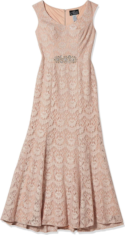 Alex Evenings Womens Long Embellished Waist Dress