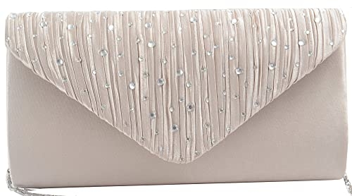 f98086b069119 Image Unavailable. Image not available for. Color: Pulama Pleat Satin Hot  Fix Flap Evening Bag Elegant Handy Envelope Clutch Shaped Shoulder ...