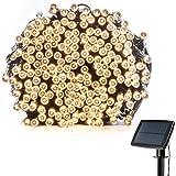 Chaîne de lumières de solaire LED, grand tableau de charge, la batterie au lithium, 200 perles de lampe, 72 pouces, 8 modes de fonctionnement, étanche,blanc chaud, le mariage et la réunion familiale en plein air.
