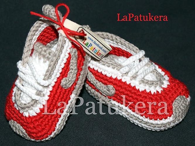 Babyschuhe Häkeln Unisex Farbe Rot Und Grau Aus 100 Baumwolle 4