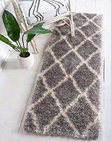 Unique Loom Opulence Trellis Shag Collection Plush Geometric Modern Moroccan Gray Runner Rug 2 0 x 6 0