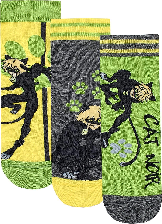 Miraculous Calcetines Paquete de 3 para Ni/ños Cat Noir