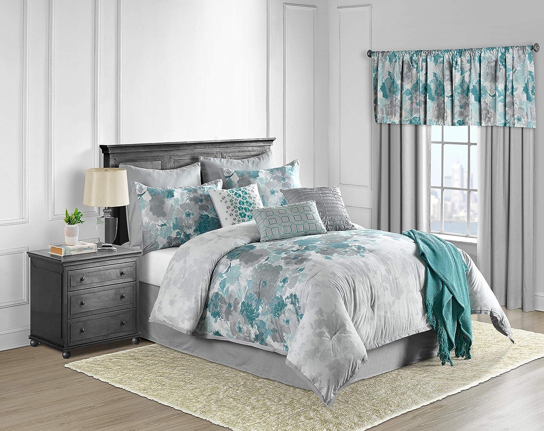 Lanwood Claire Cotton 10 Piece Comforter Set Queen Teal Floral Home Kitchen
