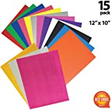 Heat Transfer Vinyl - Iron on - HTV Bundle Assorted Colors for Silhouette Cameo, Cricut, Heat Press Machine - PU, Glitter Starter Kit - 15 Sheets Pack 12x10 - T-Shirts DIY - Teflon Sheet