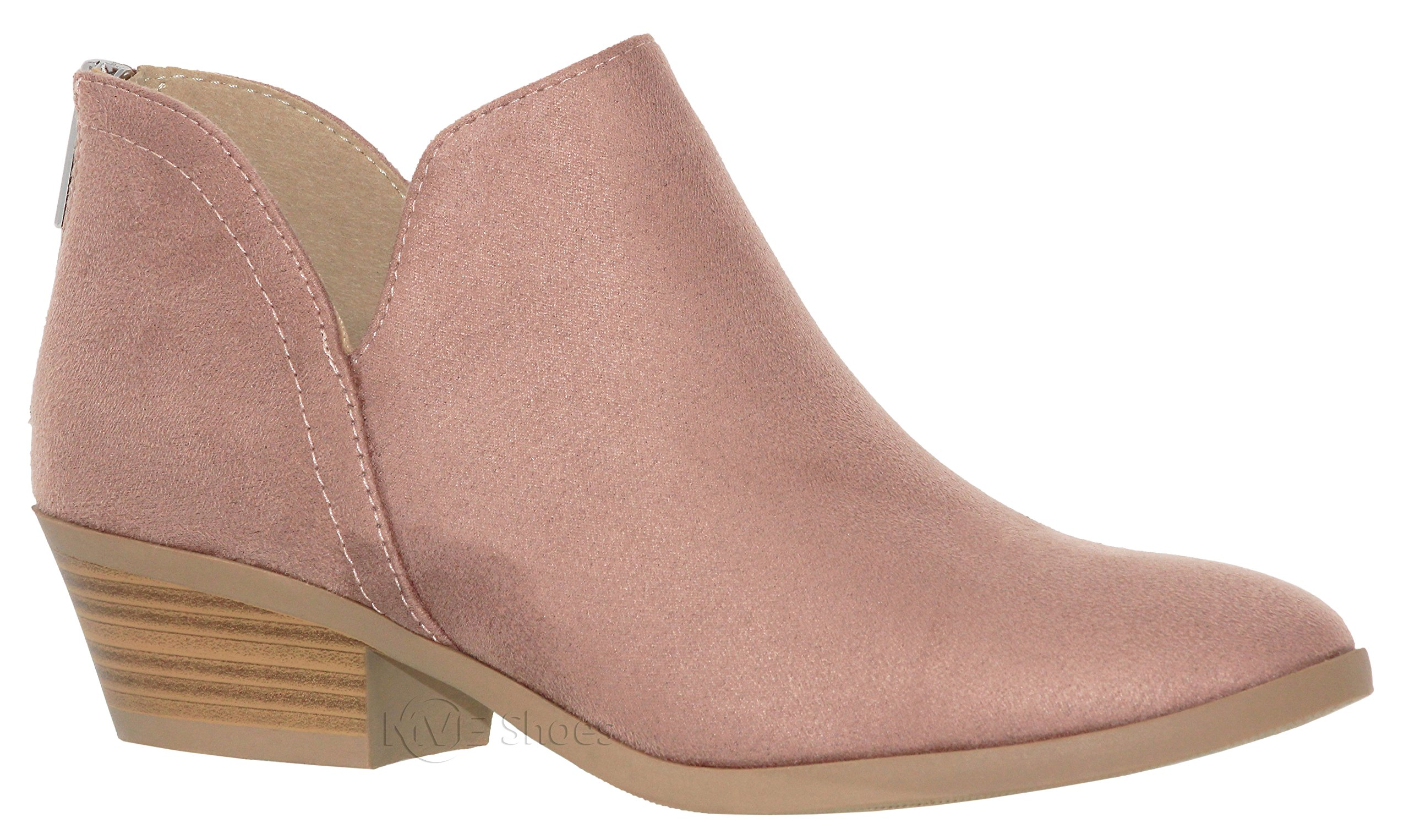 MVE Shoes Cute Western Cowboy Bootie - Womens Pointed Toe Slip On Ankle Boot -Back Zip up Low Heel, Blush su Size 10