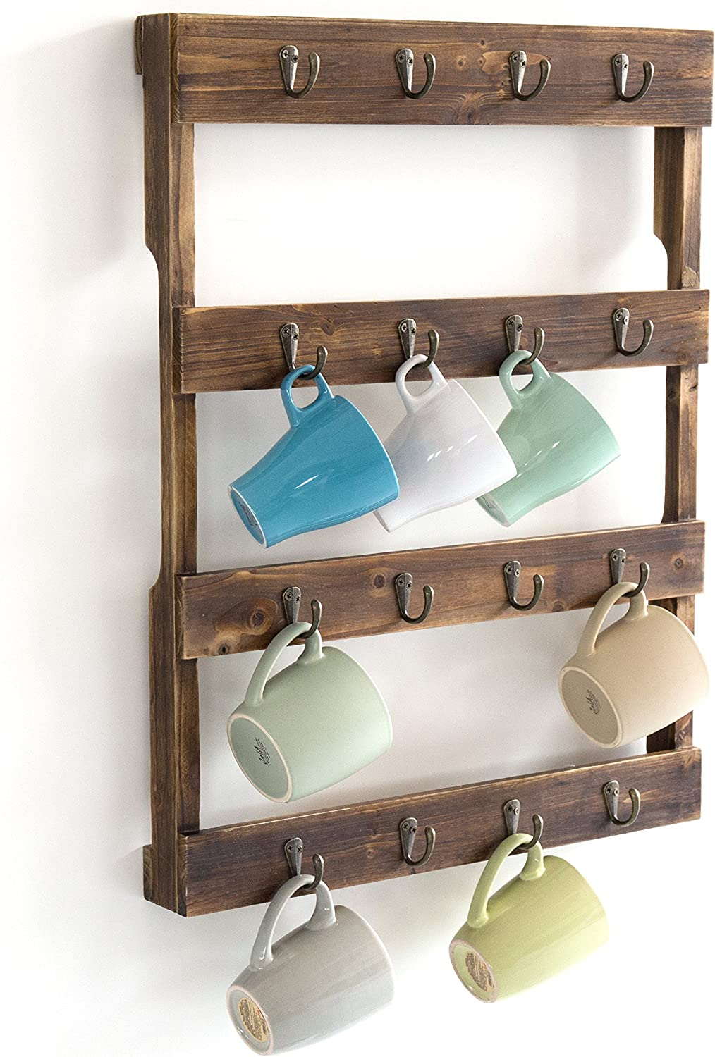 Wall Mounted 12 Hook Torched Wood Coffee Mug Cup Holder Display Rack