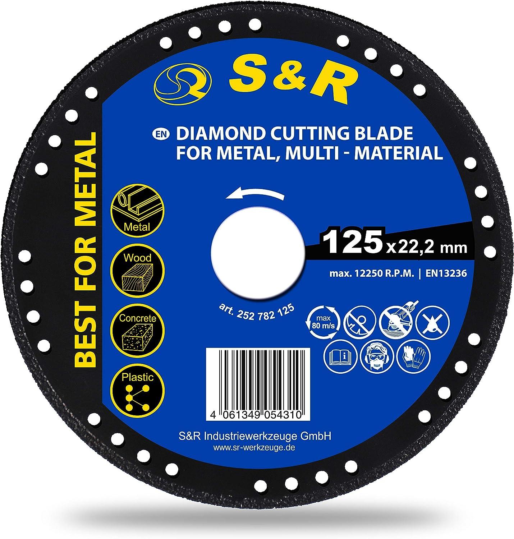 S&R Disco 125 Diamantado para Amoladora. Corte Metal, Madera, Hierro, Plastico. Muela de corte Universal