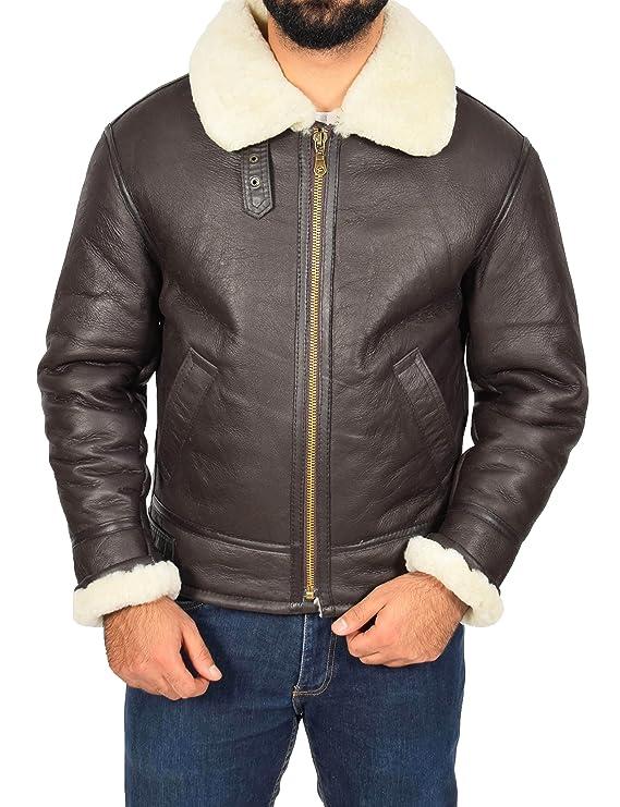 Mens Sheepskin Leather Jacket White Shearling Lined Top Gun Aviator Oscar Brown at Amazon Mens Clothing store: