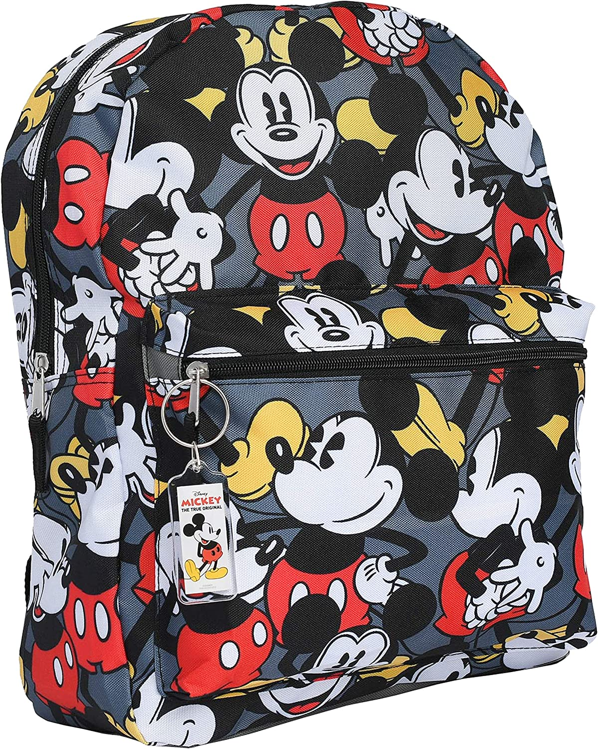 "Disney Mickey Mouse 16"" Backpack Bag AOP & Keychain - 2 Piece Set (Mickey)"
