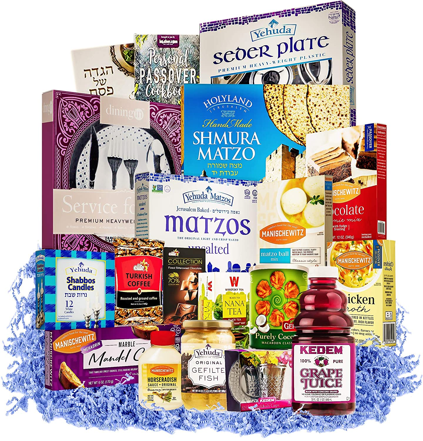 Seder In a Box | Passover Seder Essential Foods & Religious Articles | The Ultimate Passover Survival Kit | Passover Matzo, Fish, Soup, Candles Deserts Hagadda, Treats & Much More!