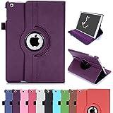 iPad Air Case, RC iPad Air 360 Rotating Smart Case PU Leather Cover Stand for Apple iPad 5 Air 1 Sleep/Wake (Purple)