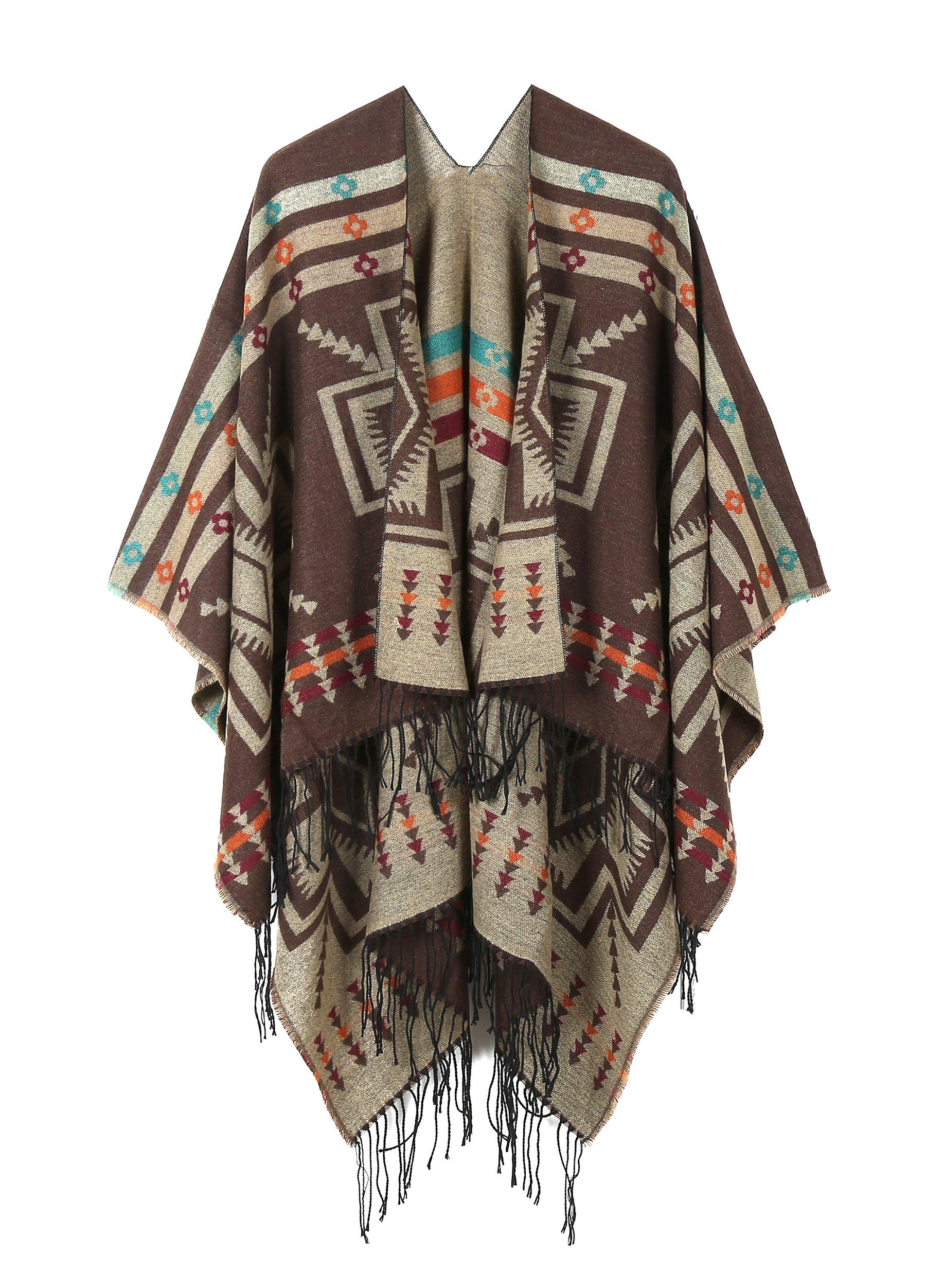 JURUAA Loose Mexican Wool Poncho Shawl Cloaks Cape Wrap Kimono Cardigans Coffee