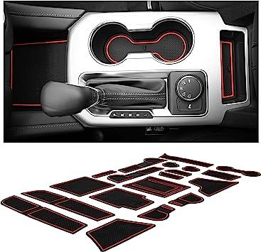 LFOTPP Car Non-Slip Interior Door Gate Slot Mats Compatible with 2019-2020 RAV4 Cup Holder Pads Groove Mat Cushions,12 PCS Rubber Mat Red