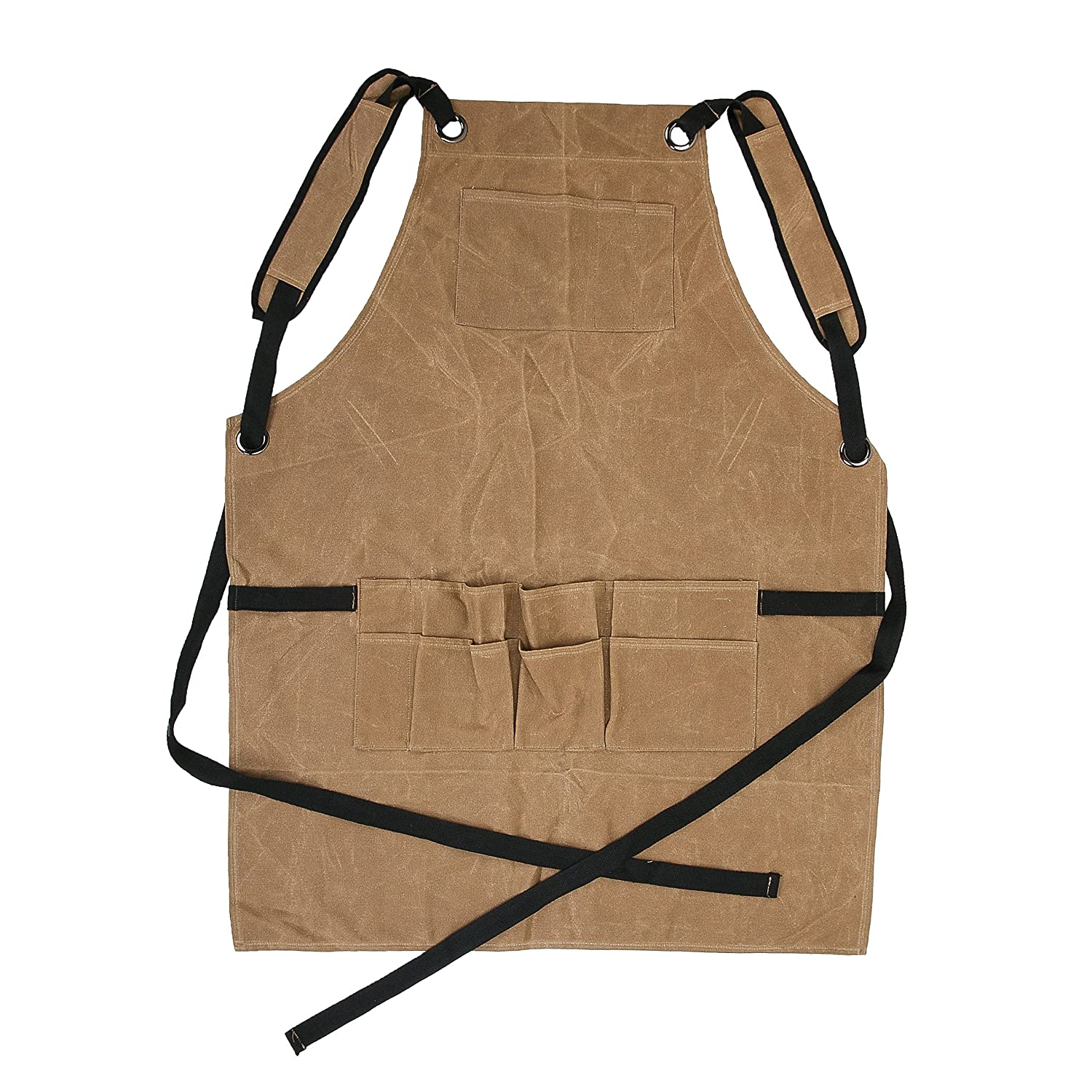 Adjustable Woodworking /& Machinist Shop Apron with Tool Pockets WQ40 ZhuoLang Heavy Duty Tool Apron 16oz Waxed Canvas Work Apron for Men