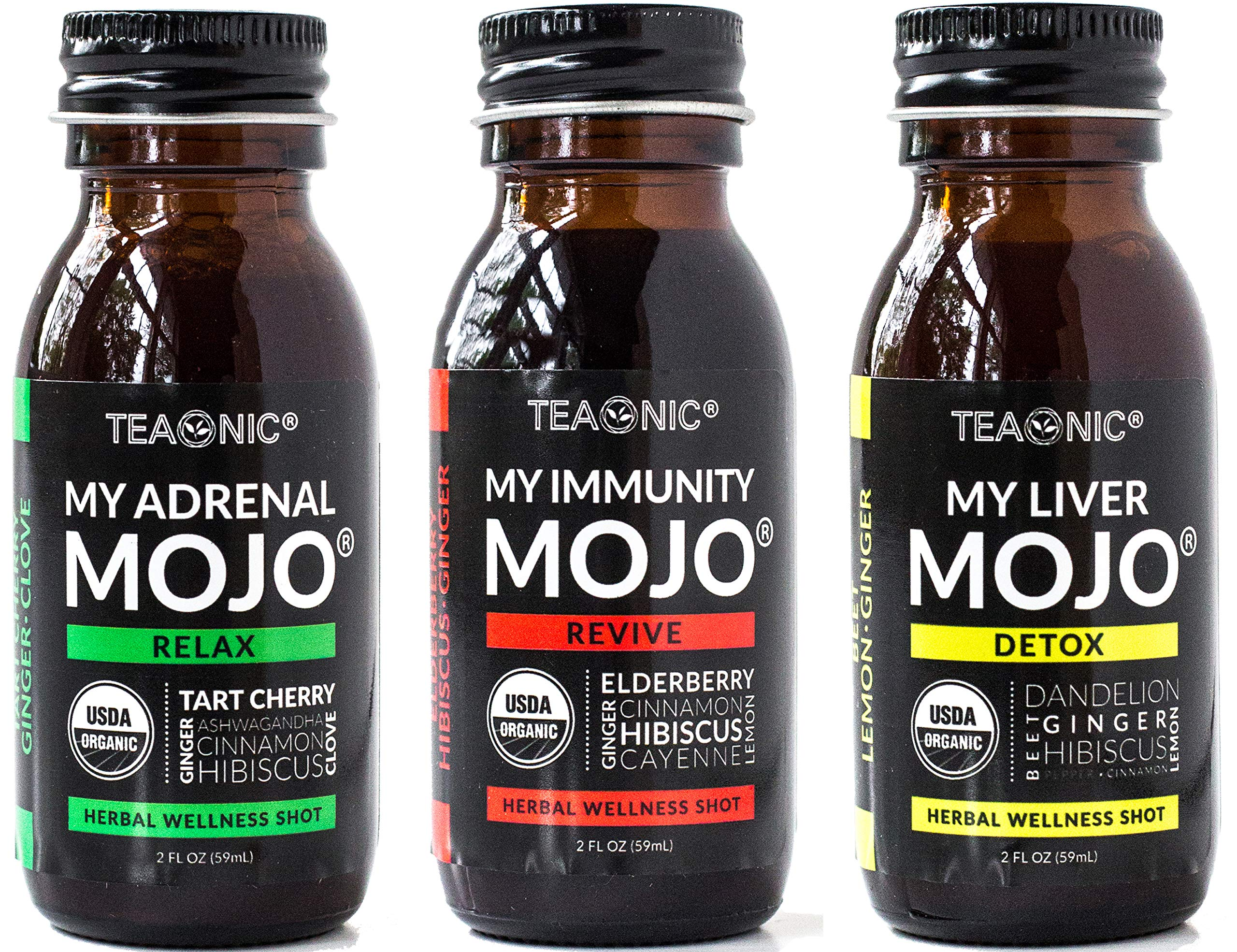 Teaonic Herbal Mojo, Organic, Natural, Caffeine-Free, Unsweetened Herbal Wellness Shot, Adrenal, Liver, Immunity 2oz (Pack of 12)