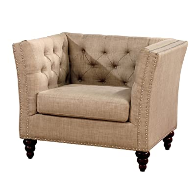 HOMES: Inside + Out IDF-6860-CH Lihlia Traditional Living Room Chair, Beige