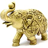 Two Moustaches Elephant with Om and Swastika Carving Brass Showpiece 7 Inches   Home Decor  