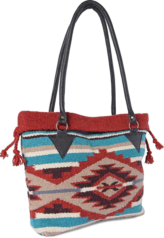 3b0433e25 Amazon.com: Handwoven Wool Malibu Purse with Genuine Leather handles. Large  Eco Friendly Tote Bag, Native American Styles ((A) Terracota Pyramid):  Western ...