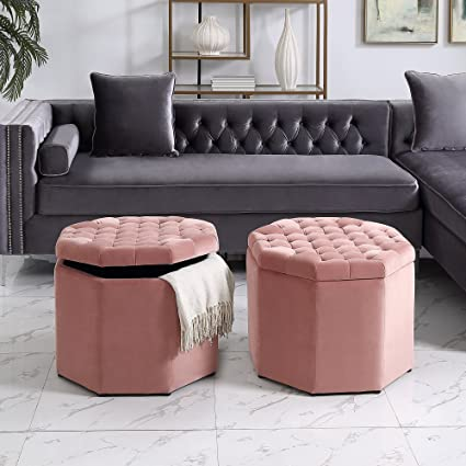Inspired Home Nova Blush Velvet Storage Ottoman   Upholstered | Tufted |  Livingroom, Entryway,