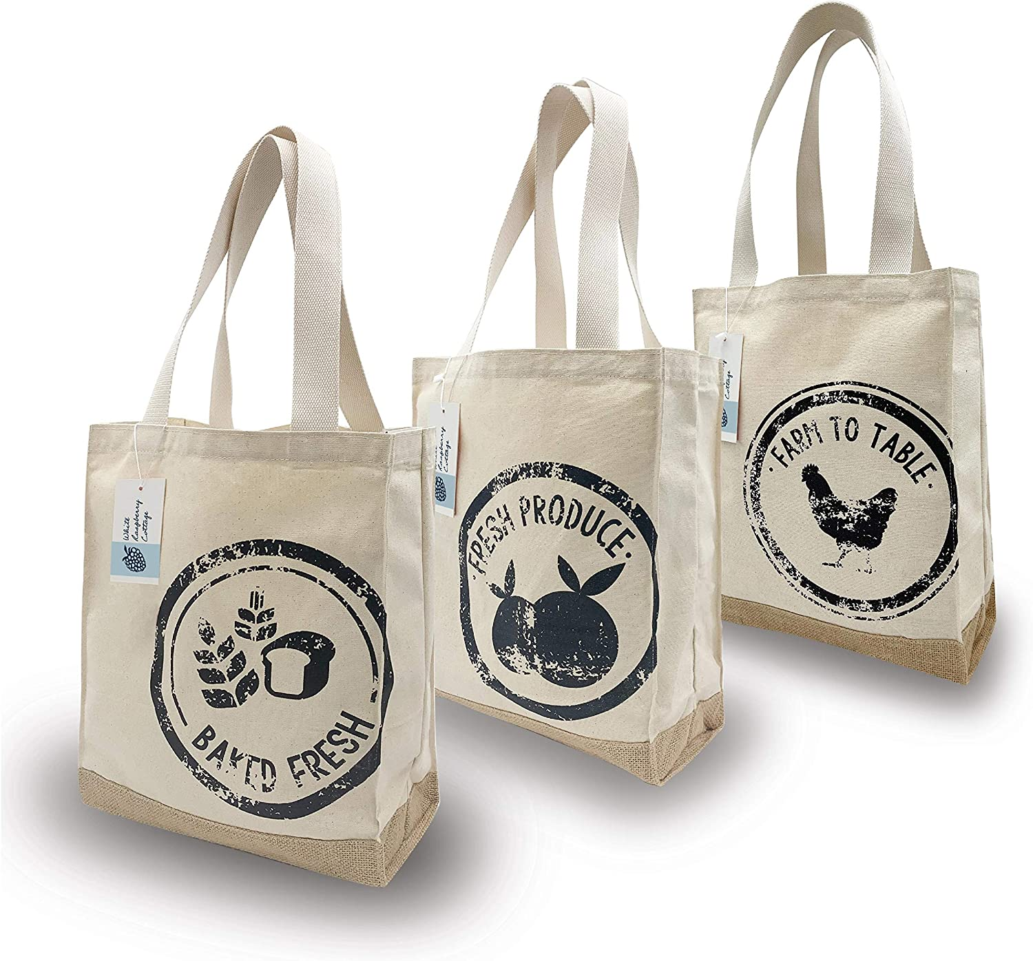 White Raspberry Cottage MADE IN THE USA Reusable Natural Organic Canvas & Jute Grocery Shopping Bag, Farmers Market Tote