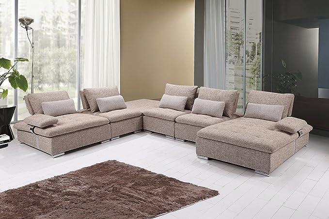 US Livings Mira Modern Living Room Fabric 6-Piece Modular Sofa Set  (Sandstone)