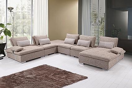 Amazon.com: U.S. Livings Mira Modern Living Room Fabric 6-Piece ...