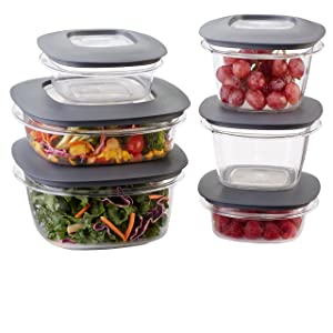 Rubbermaid Premier Easy Find Lids Food Storage Containers, Gray, Set of 12 1951295, 12-Piece,