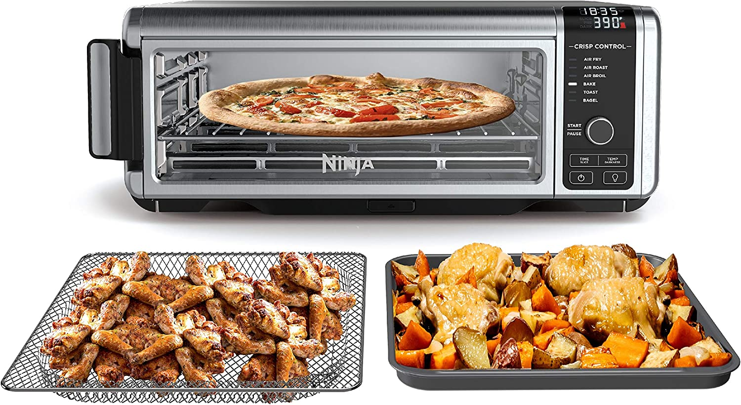 Ninja SP100 Foodi™ Digital Air Fry Oven in Black and Silver, Convection Oven, Toaster, Air Fryer, Flip-Away for Storage, 1800 watts, (Stainless Steel)