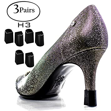 213782e7161ab Heel Hunks Black H3 11.5mm 3-Pairs Heel Protectors Replacement Tip Caps for  High Heel Shoes...