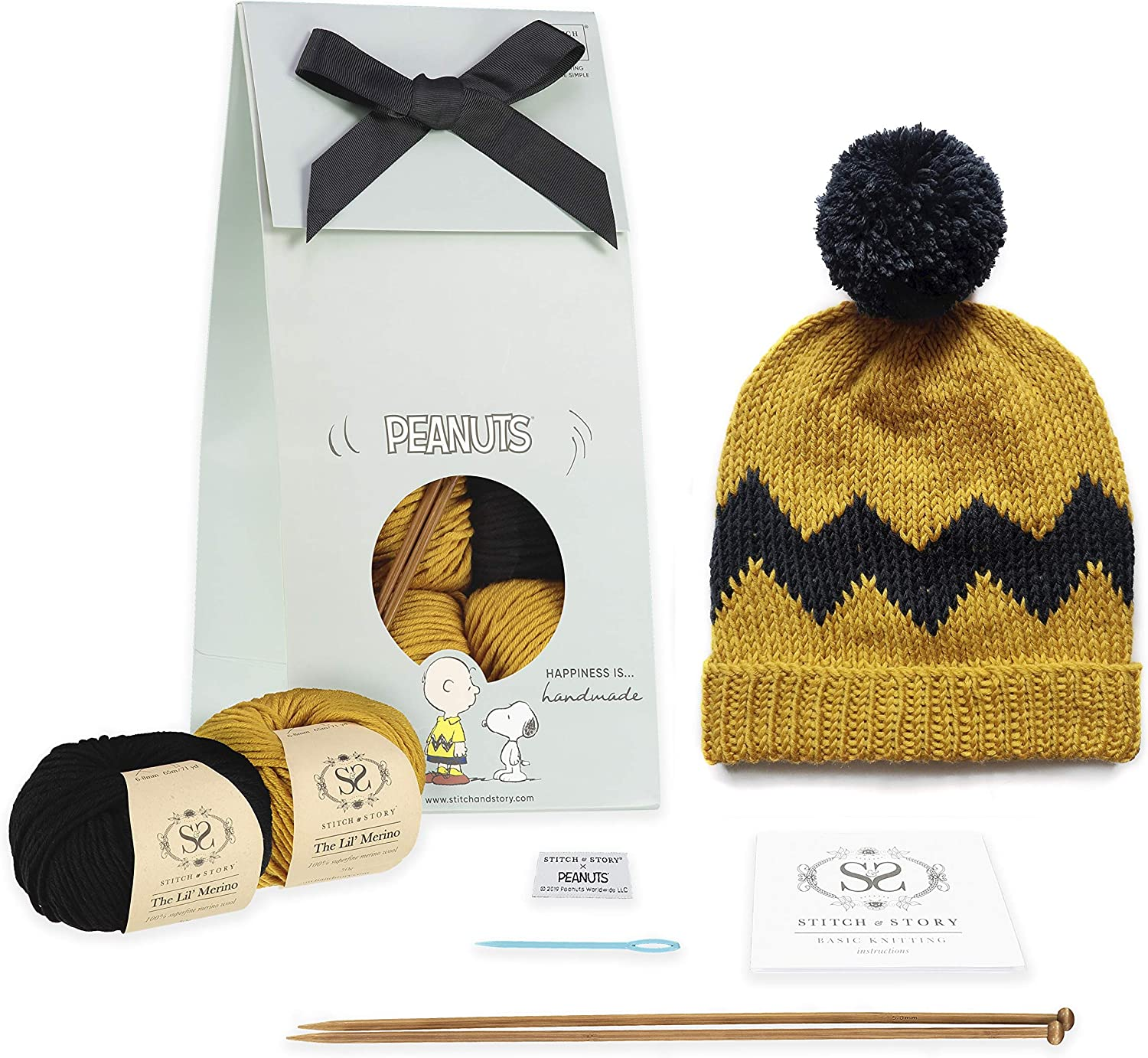 Sand Gold and Comic Black Stitch /& Story X Peanuts Charlie Brown Hat Beginner Knitting Kit Adult Size